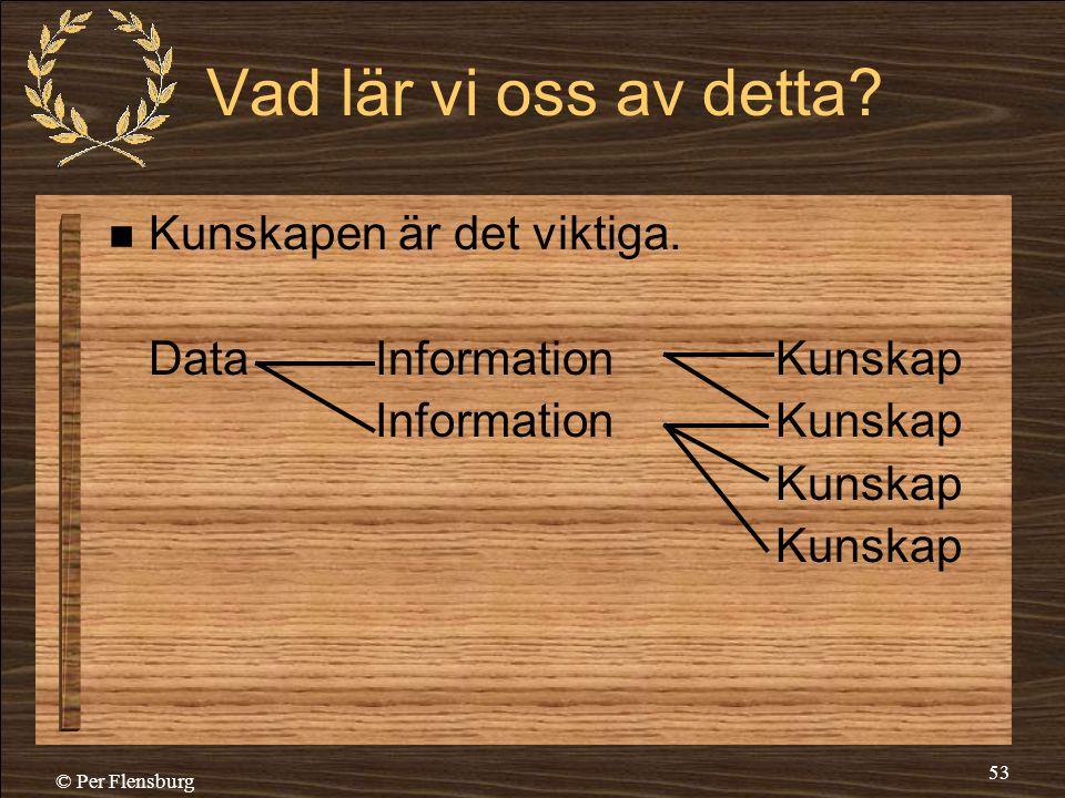 © Per Flensburg 53 Vad lär vi oss av detta?  Kunskapen är det viktiga. DataInformationKunskap InformationKunskap Kunskap