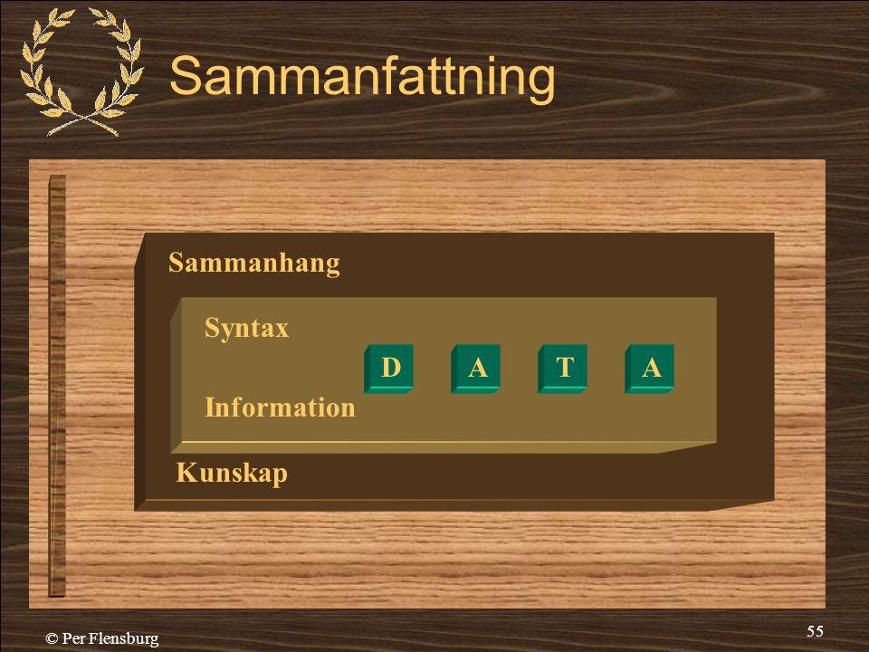 © Per Flensburg 55 Sammanfattning Sammanhang Syntax Information Kunskap DATA