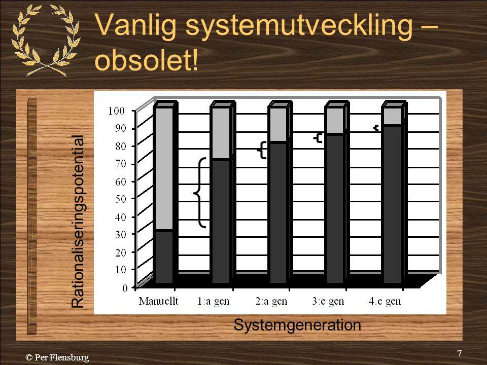 © Per Flensburg 7 Vanlig systemutveckling – obsolet! Rationaliseringspotential Systemgeneration