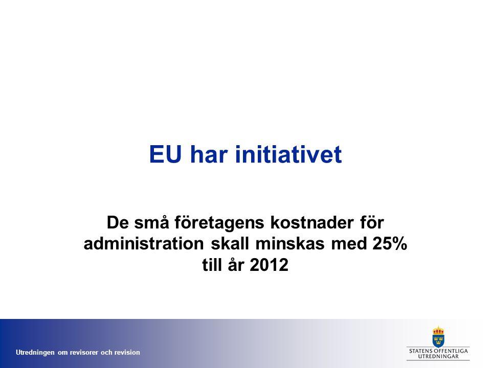 Utredningen om revisorer och revision EU har initiativet De små företagens kostnader för administration skall minskas med 25% till år 2012