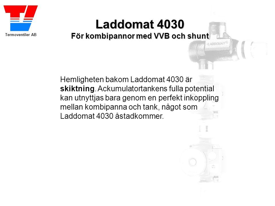 Termoventiler AB Laddomat 4030 För kombipannor med VVB och shunt Laddomat 4030 Flyttar energin till ackumulatortanken vid eldning… …och sedan tillbaka till pannan igen när brasan falnat.
