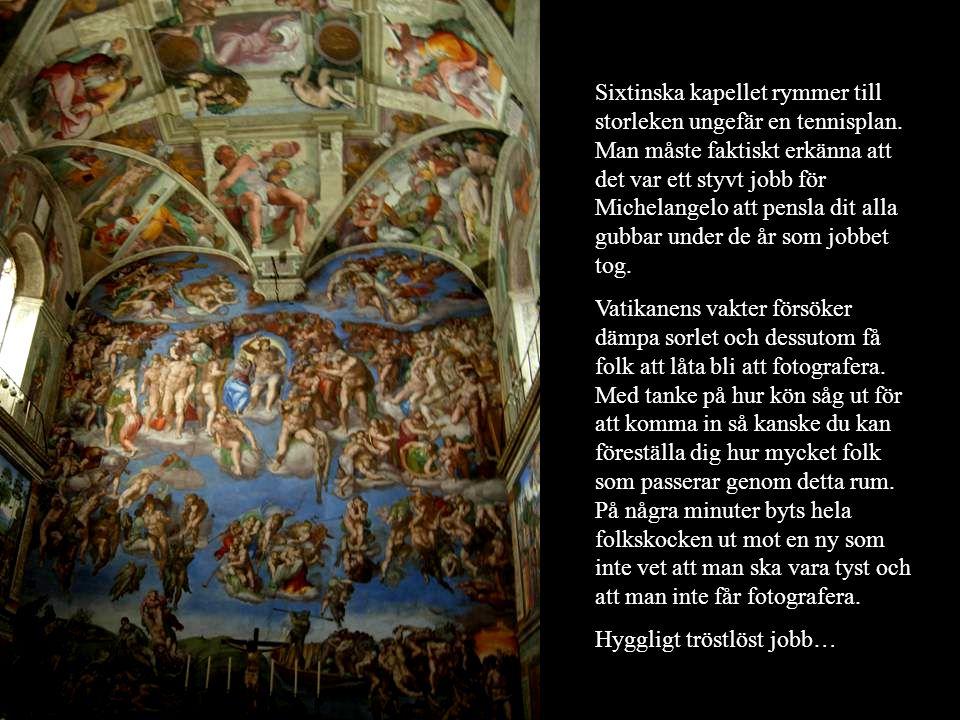 Sixtinska kapellet rymmer till storleken ungefär en tennisplan. Man måste faktiskt erkänna att det var ett styvt jobb för Michelangelo att pensla dit