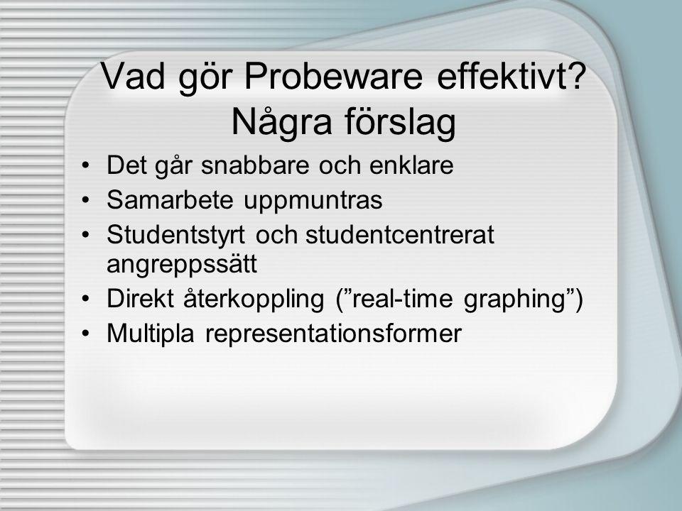 Vad gör Probeware effektivt? Några förslag •Det går snabbare och enklare •Samarbete uppmuntras •Studentstyrt och studentcentrerat angreppssätt •Direkt