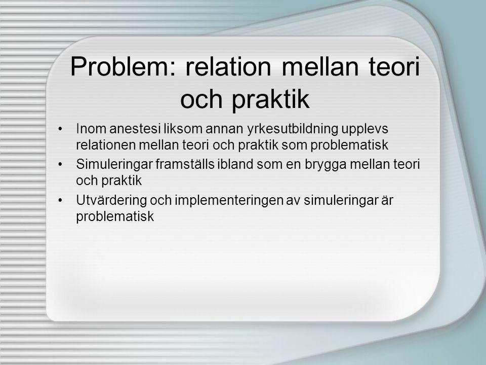 Problem: relation mellan teori och praktik •Inom anestesi liksom annan yrkesutbildning upplevs relationen mellan teori och praktik som problematisk •S