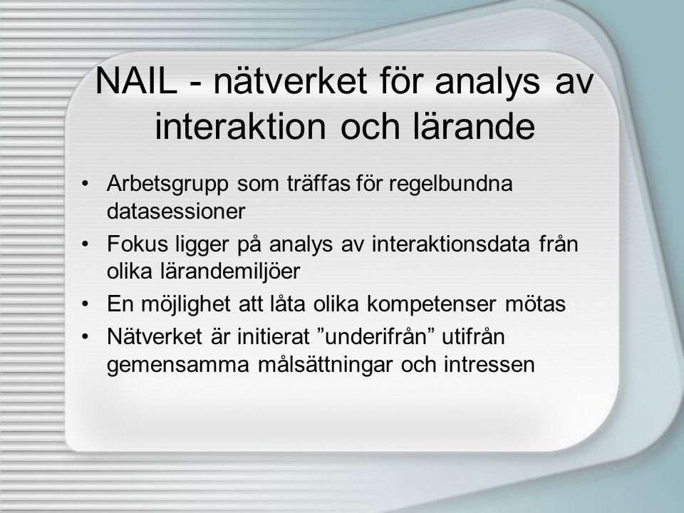 NAIL - nätverket för analys av interaktion och lärande •Arbetsgrupp som träffas för regelbundna datasessioner •Fokus ligger på analys av interaktionsd