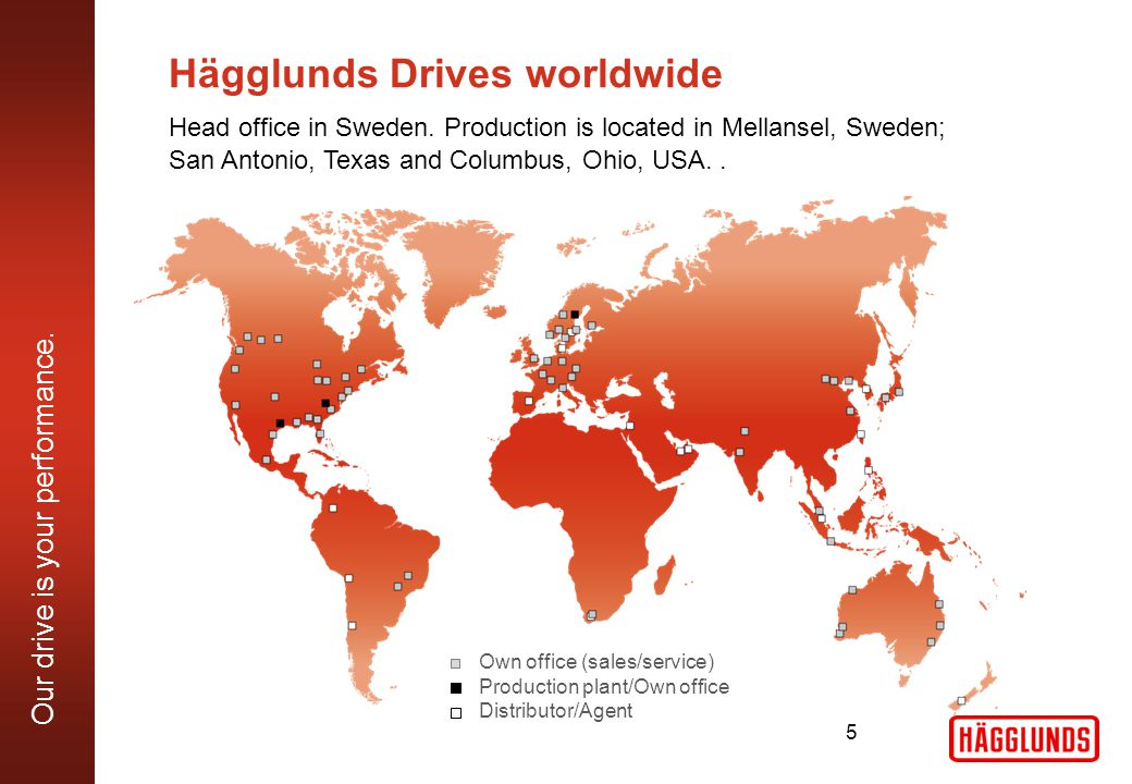 Our drive is your performance. Hägglunds Drives worldwide Head office in Sweden.