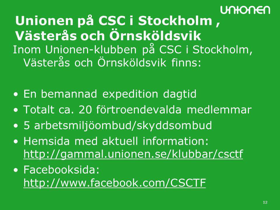 12 Unionen på CSC i Stockholm, Västerås och Örnsköldsvik Inom Unionen-klubben på CSC i Stockholm, Västerås och Örnsköldsvik finns: •En bemannad expedition dagtid •Totalt ca.
