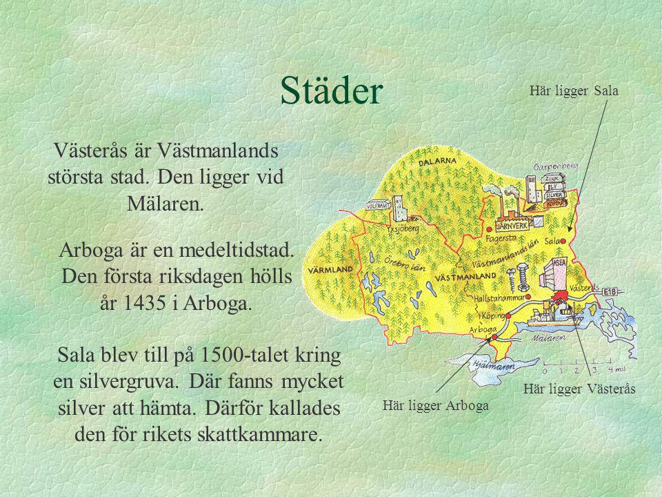 Städer Västerås är Västmanlands största stad. Den ligger vid Mälaren. Arboga är en medeltidstad. Den första riksdagen hölls år 1435 i Arboga. Sala ble