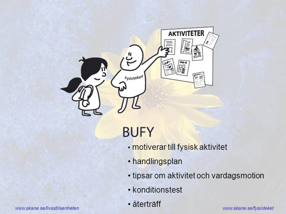 www.skane.se/livsstilsenhetenwww.skane.se/fysioteket • motiverar till fysisk aktivitet • handlingsplan • tipsar om aktivitet och vardagsmotion • kondi