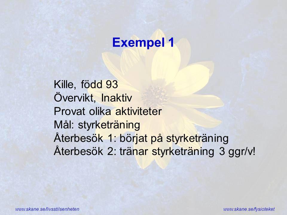 www.skane.se/livsstilsenhetenwww.skane.se/fysioteket Exempel 1 Kille, född 93 Övervikt, Inaktiv Provat olika aktiviteter Mål: styrketräning Återbesök