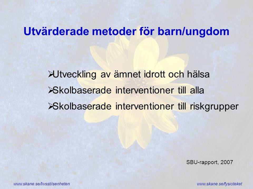 www.skane.se/livsstilsenhetenwww.skane.se/fysioteket Utvärderade metoder för barn/ungdom  Utveckling av ämnet idrott och hälsa  Skolbaserade interve