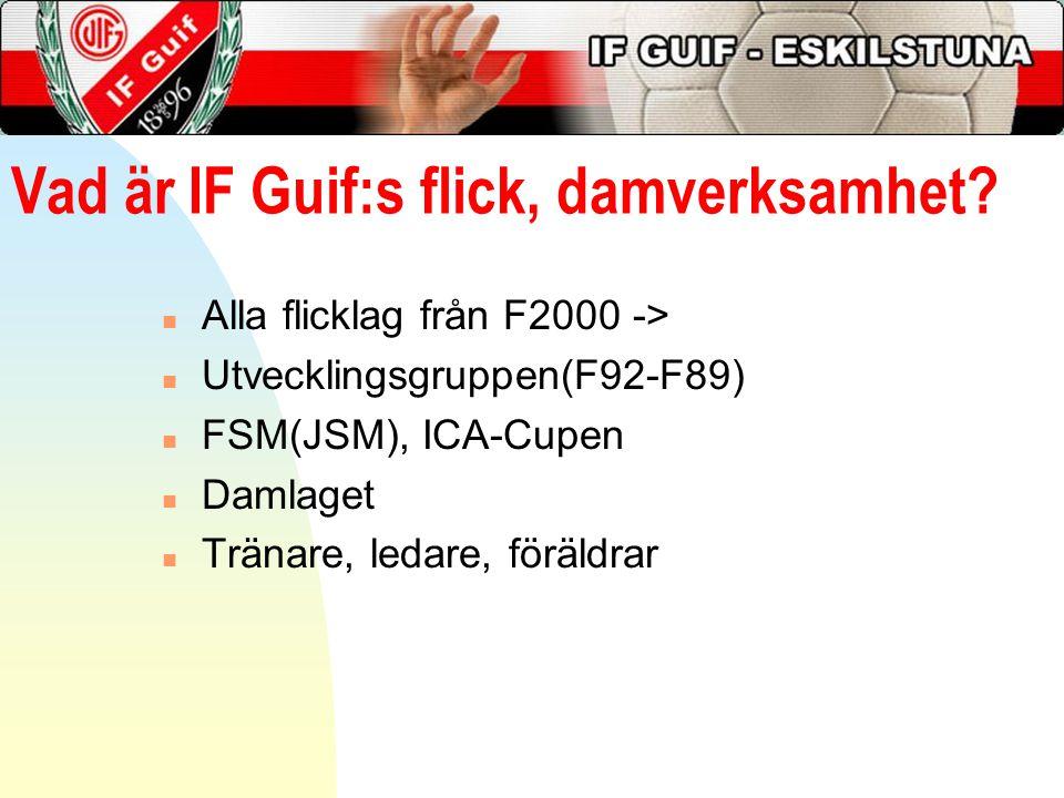Vad är IF Guif:s flick, damverksamhet? n Alla flicklag från F2000 -> n Utvecklingsgruppen(F92-F89) n FSM(JSM), ICA-Cupen n Damlaget n Tränare, ledare,