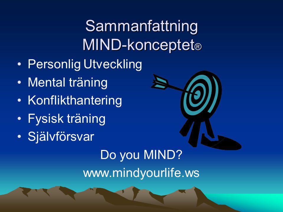 Sammanfattning MIND-konceptet ® •Personlig Utveckling •Mental träning •Konflikthantering •Fysisk träning •Självförsvar Do you MIND.