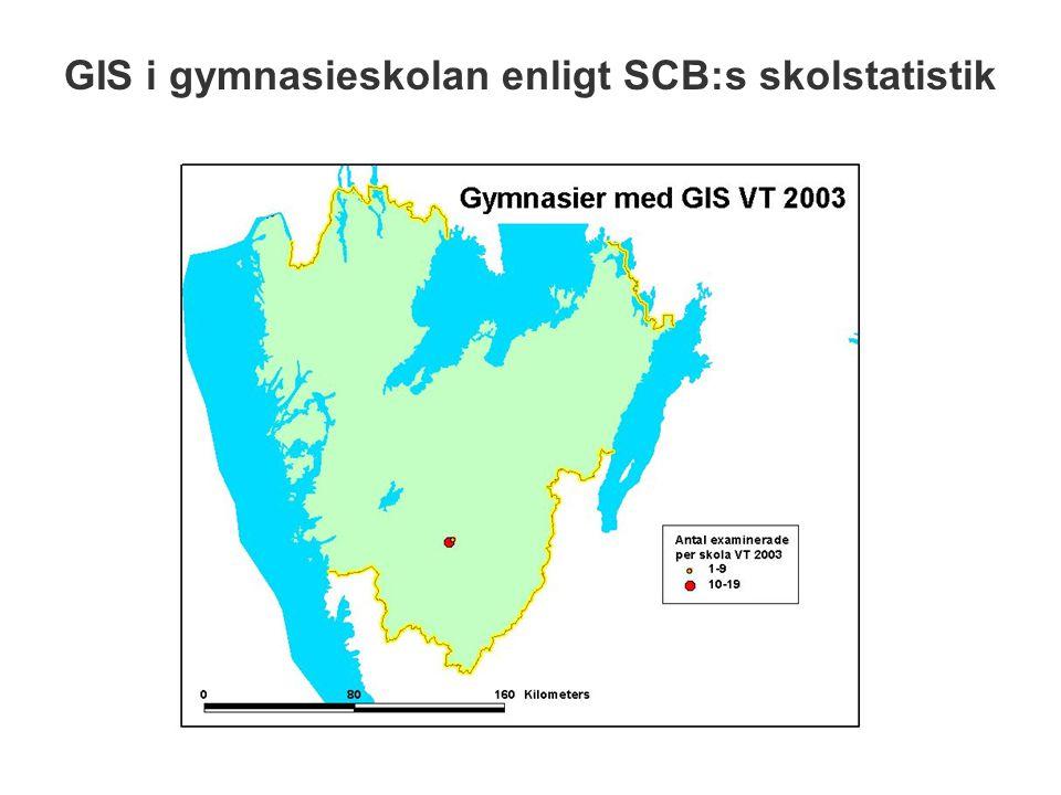 GIS i gymnasieskolan enligt SCB:s skolstatistik
