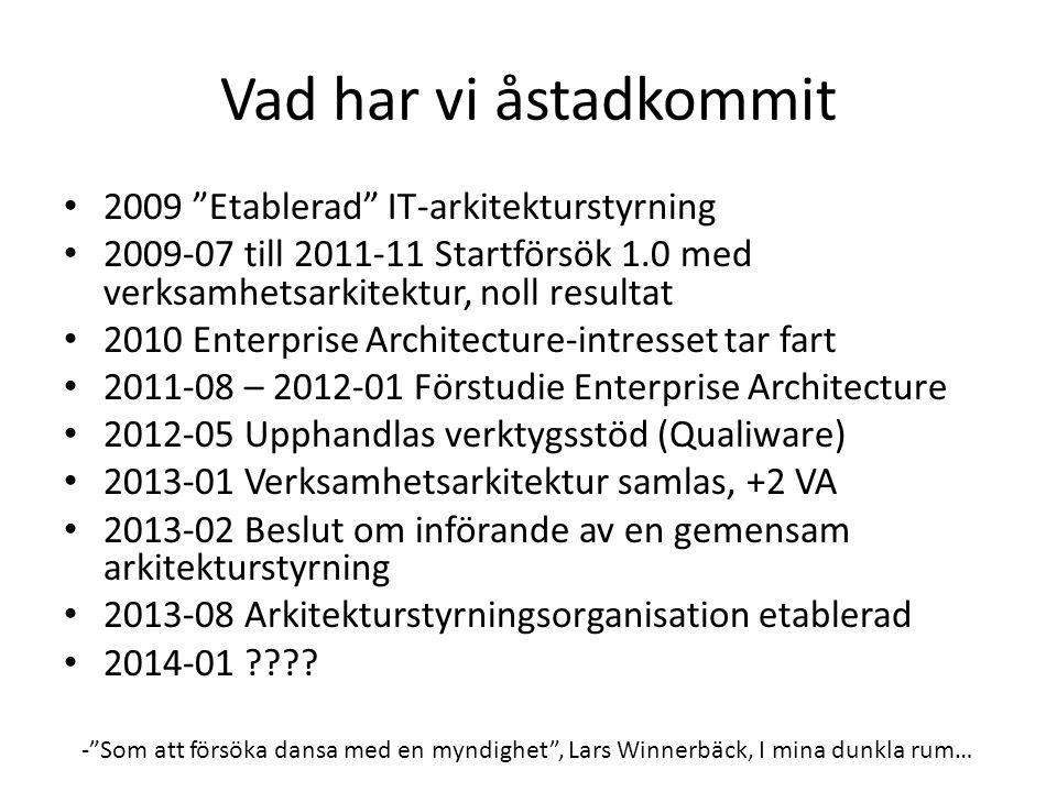 Vad har vi åstadkommit • 2009 Etablerad IT-arkitekturstyrning • 2009-07 till 2011-11 Startförsök 1.0 med verksamhetsarkitektur, noll resultat • 2010 Enterprise Architecture-intresset tar fart • 2011-08 – 2012-01 Förstudie Enterprise Architecture • 2012-05 Upphandlas verktygsstöd (Qualiware) • 2013-01 Verksamhetsarkitektur samlas, +2 VA • 2013-02 Beslut om införande av en gemensam arkitekturstyrning • 2013-08 Arkitekturstyrningsorganisation etablerad • 2014-01 ???.