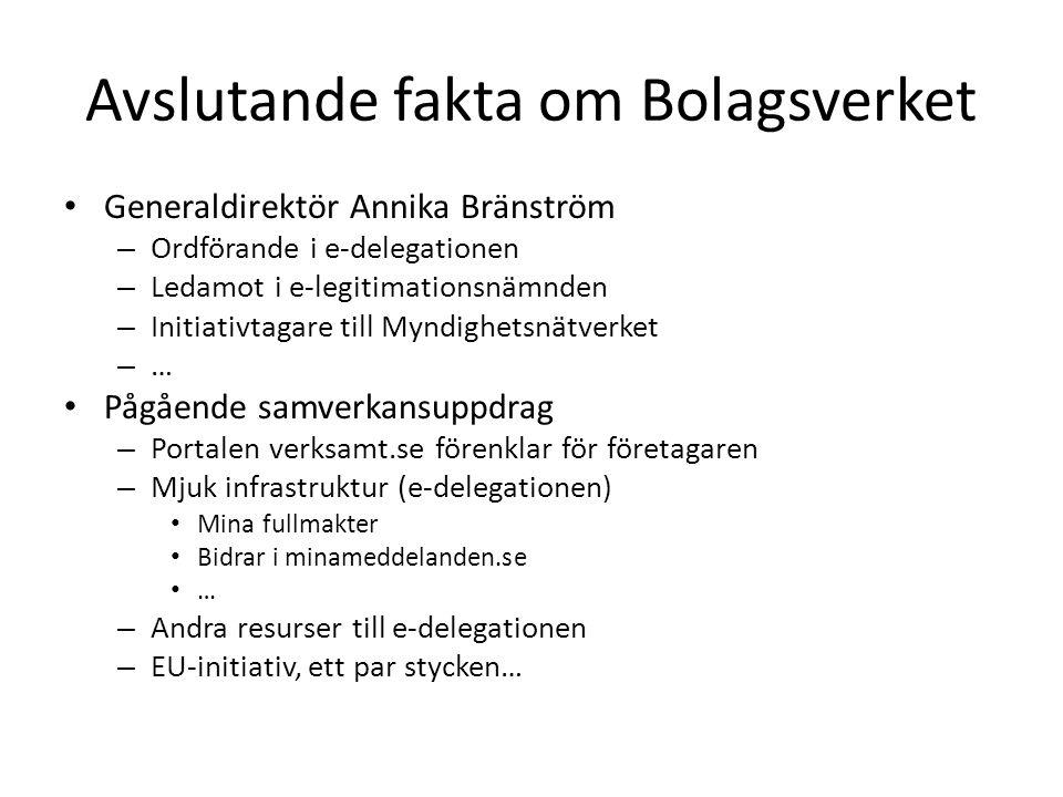 Avslutande fakta om Bolagsverket • Generaldirektör Annika Bränström – Ordförande i e-delegationen – Ledamot i e-legitimationsnämnden – Initiativtagare till Myndighetsnätverket – … • Pågående samverkansuppdrag – Portalen verksamt.se förenklar för företagaren – Mjuk infrastruktur (e-delegationen) • Mina fullmakter • Bidrar i minameddelanden.se • … – Andra resurser till e-delegationen – EU-initiativ, ett par stycken…