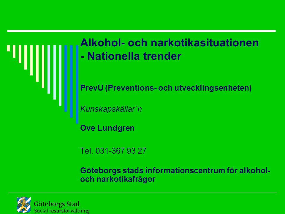 Alkohol- och narkotikasituationen - Nationella trender PrevU (Preventions- och utvecklingsenheten) Kunskapskällar´n Ove Lundgren Tel. 031-367 93 27 Gö