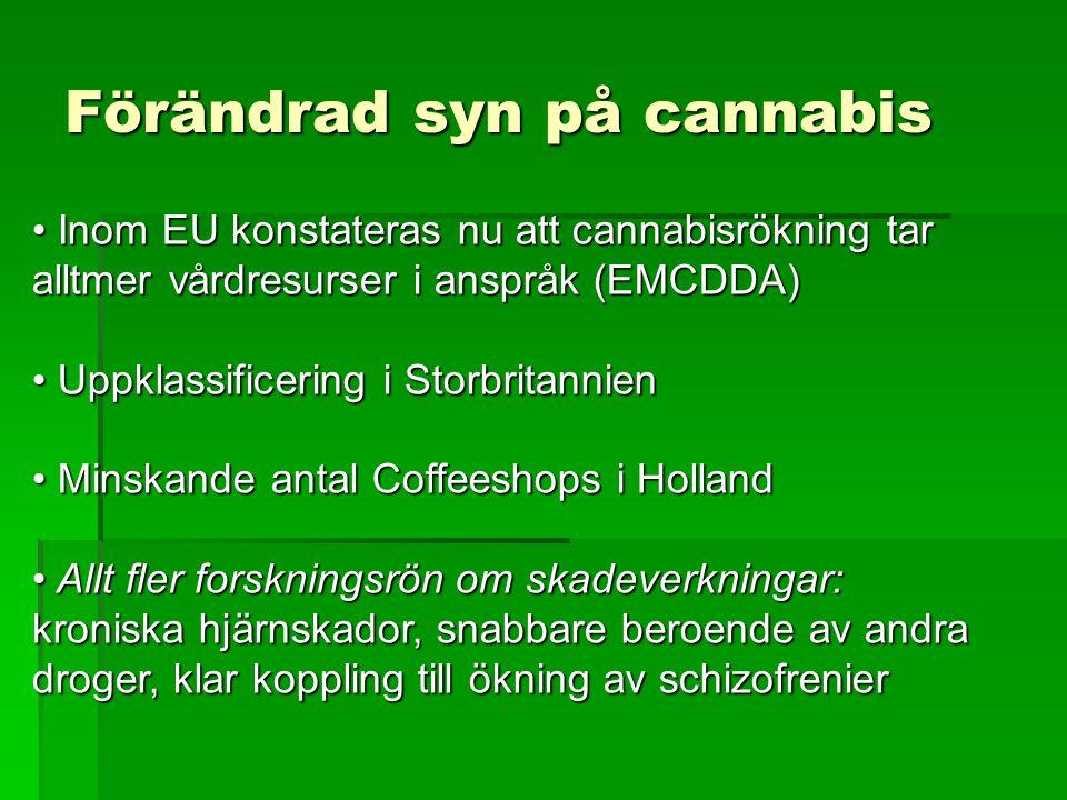 Förändrad syn på cannabis • Inom EU konstateras nu att cannabisrökning tar alltmer vårdresurser i anspråk (EMCDDA) • Uppklassificering i Storbritannie
