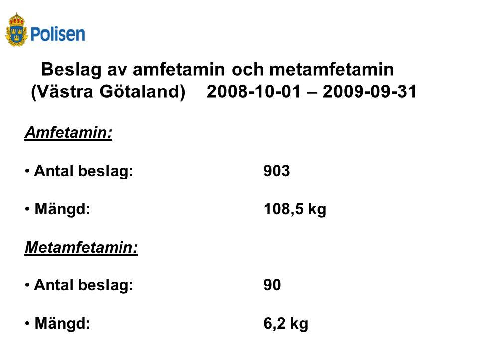 Beslag av amfetamin och metamfetamin (Västra Götaland) 2008-10-01 – 2009-09-31 Amfetamin: • Antal beslag:903 • Mängd:108,5 kg Metamfetamin: • Antal be