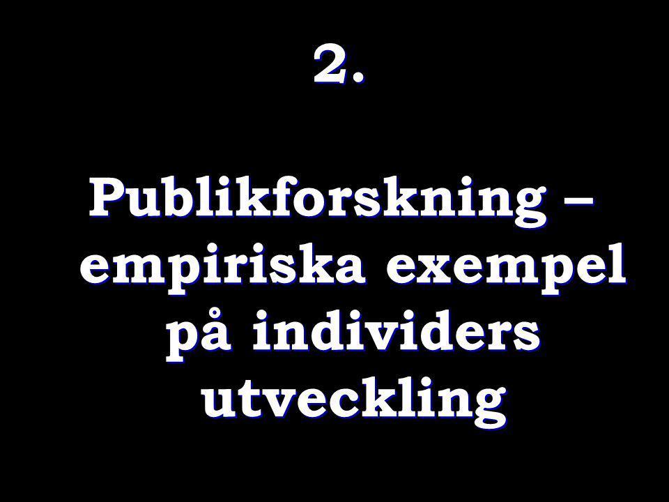 2. Publikforskning – empiriska exempel på individers utveckling 2. Publikforskning – empiriska exempel på individers utveckling