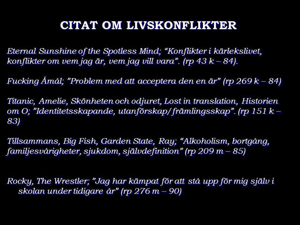 """CITAT OM LIVSKONFLIKTER Eternal Sunshine of the Spotless Mind; """"Konflikter i kärlekslivet, konflikter om vem jag är, vem jag vill vara"""". (rp 43 k – 84"""