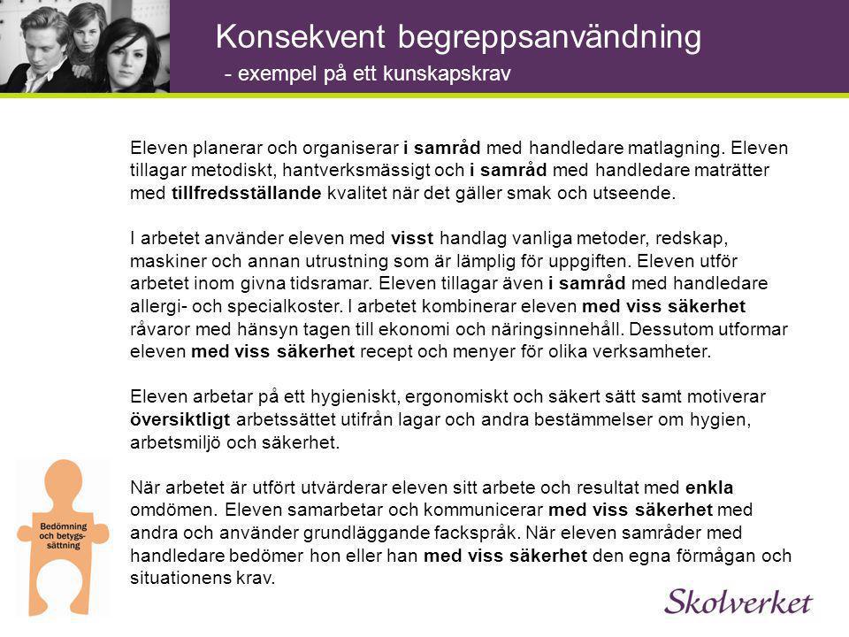 Konsekvent begreppsanvändning Eleven planerar och organiserar i samråd med handledare matlagning.