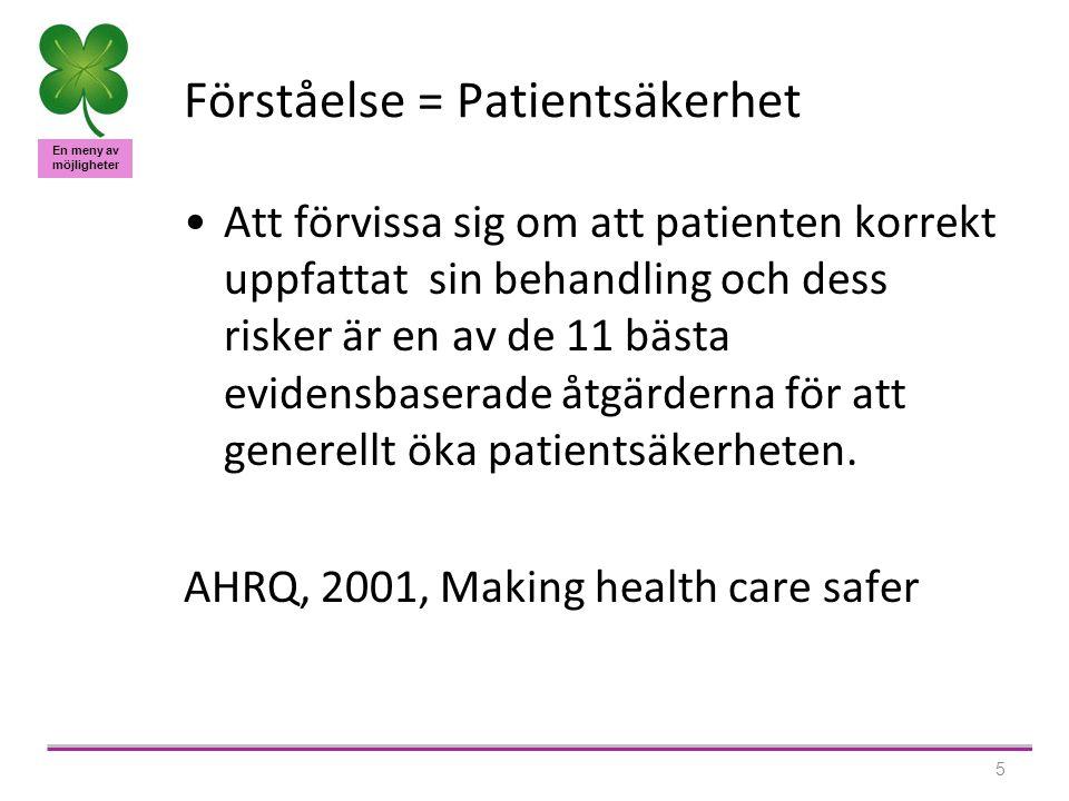En meny av möjligheter 5 Förståelse = Patientsäkerhet •Att förvissa sig om att patienten korrekt uppfattat sin behandling och dess risker är en av de 11 bästa evidensbaserade åtgärderna för att generellt öka patientsäkerheten.