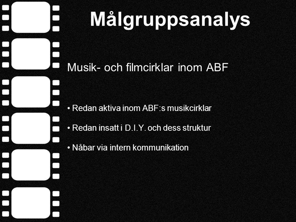Målgruppsanalys Musik- och filmcirklar inom ABF • Redan aktiva inom ABF:s musikcirklar • Redan insatt i D.I.Y. och dess struktur • Nåbar via intern ko