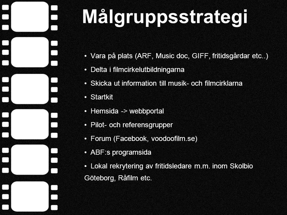 Målgruppsstrategi • Vara på plats (ARF, Music doc, GIFF, fritidsgårdar etc..) • Delta i filmcirkelutbildningarna • Skicka ut information till musik- o