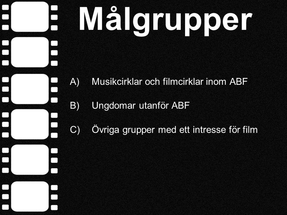 Målgruppsanalys Musik- och filmcirklar inom ABF • Redan aktiva inom ABF:s musikcirklar • Redan insatt i D.I.Y.