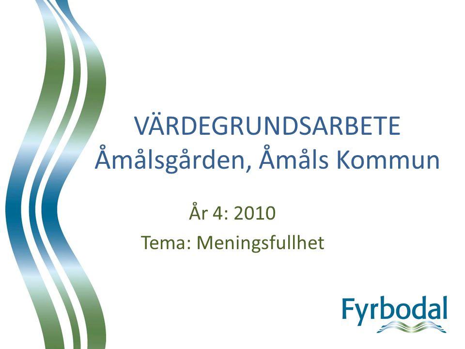 VÄRDEGRUNDSARBETE Åmålsgården, Åmåls Kommun År 4: 2010 Tema: Meningsfullhet