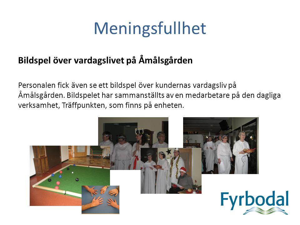 Meningsfullhet Bildspel över vardagslivet på Åmålsgården Personalen fick även se ett bildspel över kundernas vardagsliv på Åmålsgården.
