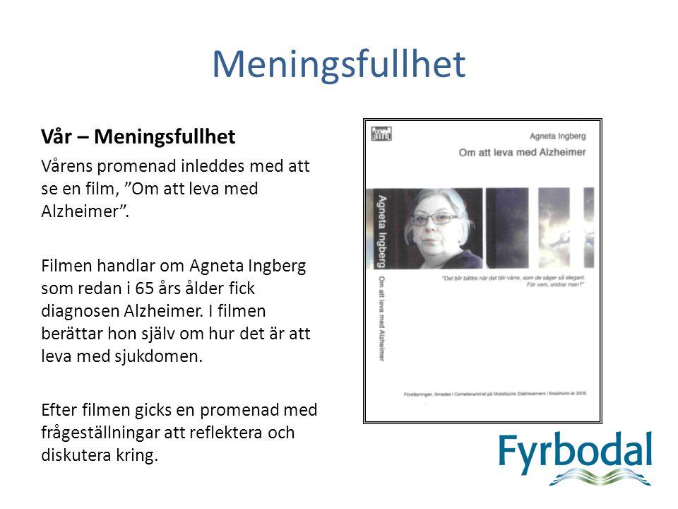 Meningsfullhet Vår – Meningsfullhet Vårens promenad inleddes med att se en film, Om att leva med Alzheimer .