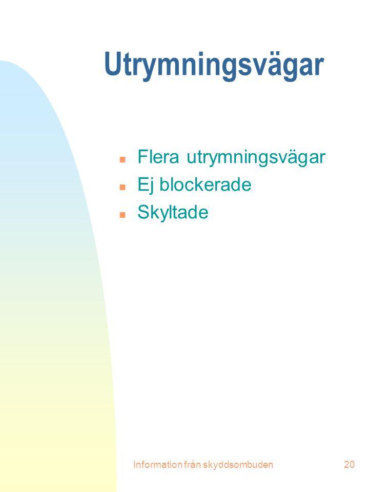Information från skyddsombuden20 Utrymningsvägar n Flera utrymningsvägar n Ej blockerade n Skyltade