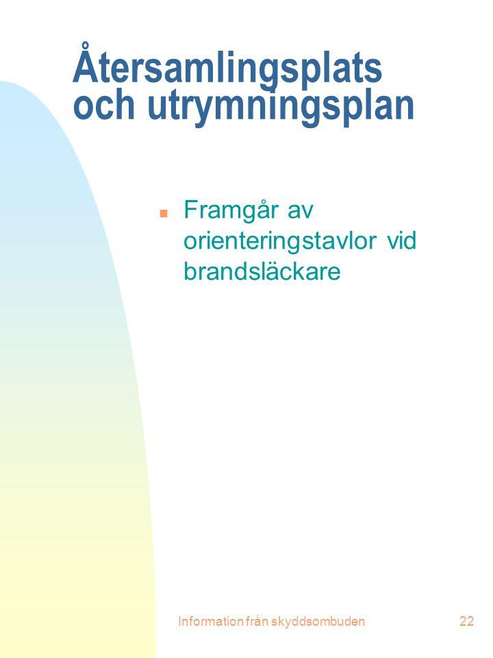 Information från skyddsombuden22 Återsamlingsplats och utrymningsplan n Framgår av orienteringstavlor vid brandsläckare