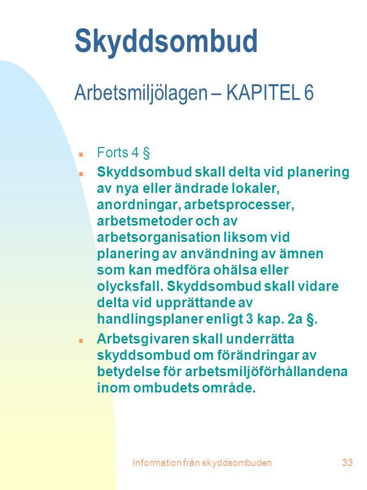 Information från skyddsombuden33 Skyddsombud Arbetsmiljölagen – KAPITEL 6 n Forts 4 § n Skyddsombud skall delta vid planering av nya eller ändrade lok