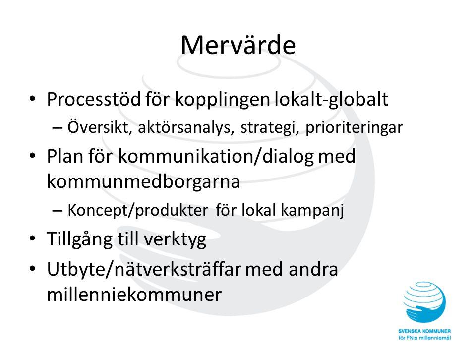Mervärde • Processtöd för kopplingen lokalt-globalt – Översikt, aktörsanalys, strategi, prioriteringar • Plan för kommunikation/dialog med kommunmedbo