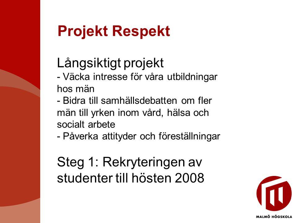 Projekt Respekt Långsiktigt projekt - Väcka intresse för våra utbildningar hos män - Bidra till samhällsdebatten om fler män till yrken inom vård, hälsa och socialt arbete - Påverka attityder och föreställningar Steg 1: Rekryteringen av studenter till hösten 2008