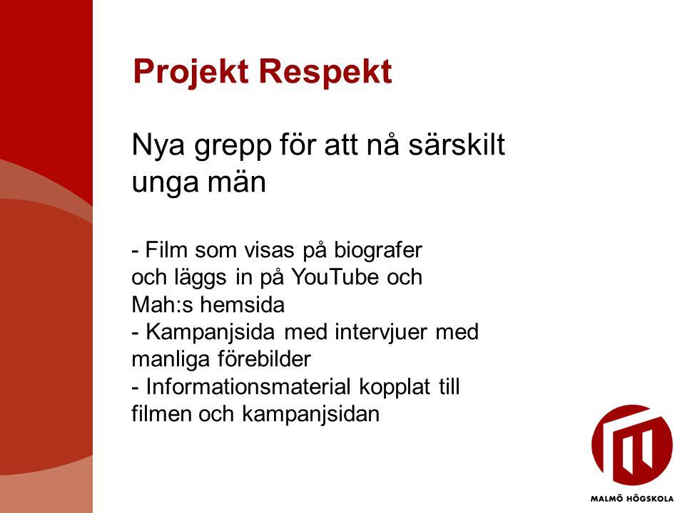 Projekt Respekt Nya grepp för att nå särskilt unga män - Film som visas på biografer och läggs in på YouTube och Mah:s hemsida - Kampanjsida med intervjuer med manliga förebilder - Informationsmaterial kopplat till filmen och kampanjsidan
