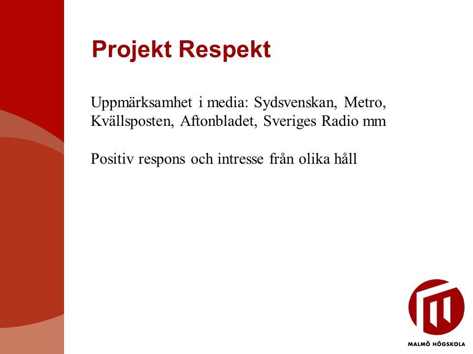 Projekt Respekt Uppmärksamhet i media: Sydsvenskan, Metro, Kvällsposten, Aftonbladet, Sveriges Radio mm Positiv respons och intresse från olika håll