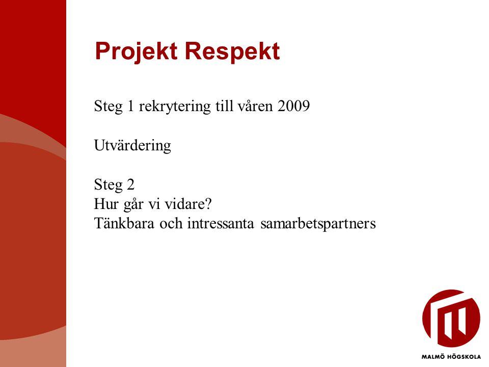Projekt Respekt Steg 1 rekrytering till våren 2009 Utvärdering Steg 2 Hur går vi vidare.