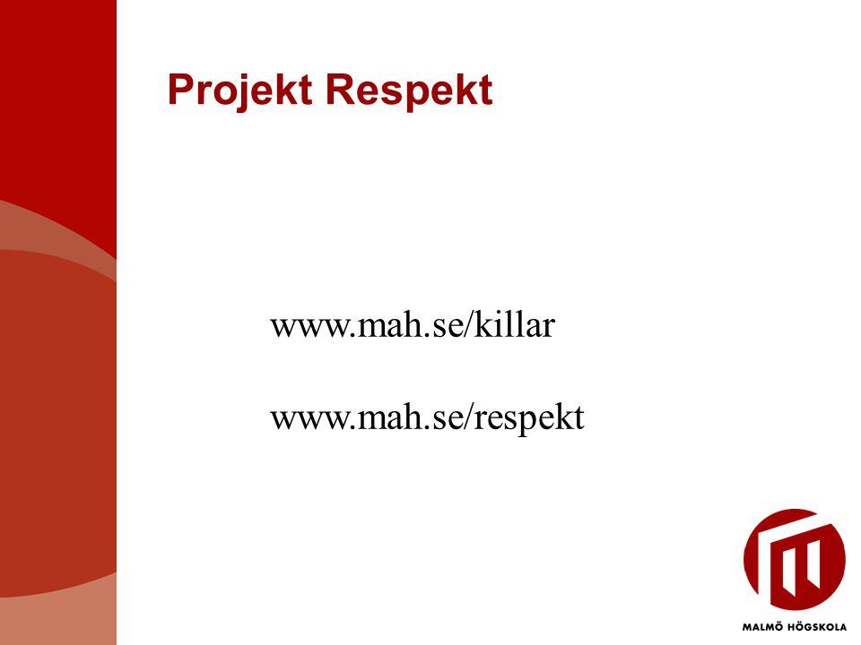 Projekt Respekt www.mah.se/killar www.mah.se/respekt