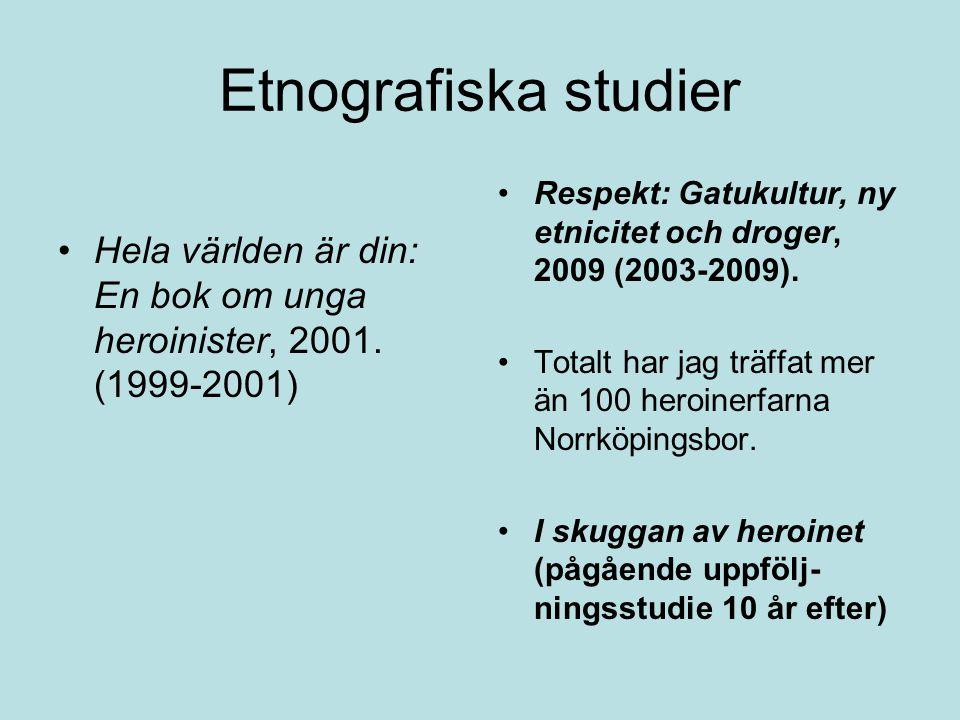 Etnografiska studier •Hela världen är din: En bok om unga heroinister, 2001. (1999-2001) •Respekt: Gatukultur, ny etnicitet och droger, 2009 (2003-200