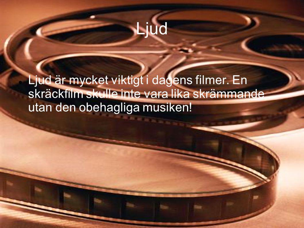 Ljud  Ljud är mycket viktigt i dagens filmer. En skräckfilm skulle inte vara lika skrämmande utan den obehagliga musiken!