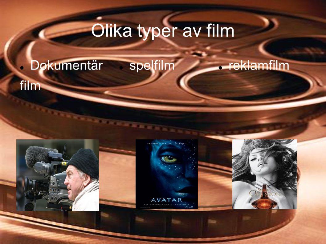 Olika typer av film  Dokumentär film  spelfilm  reklamfilm