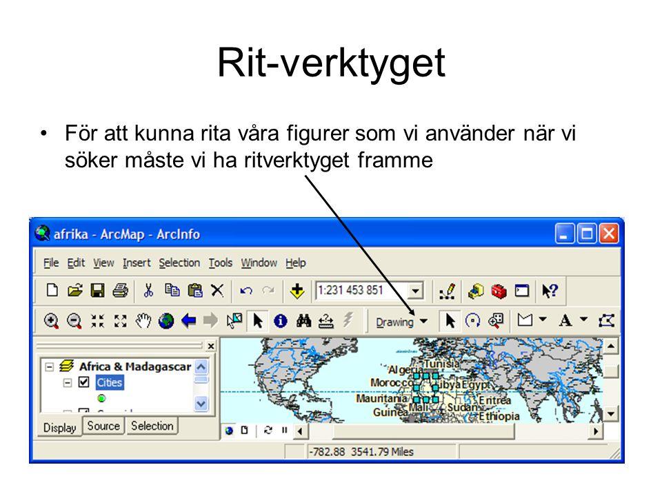 Rit-verktyget •För att kunna rita våra figurer som vi använder när vi söker måste vi ha ritverktyget framme