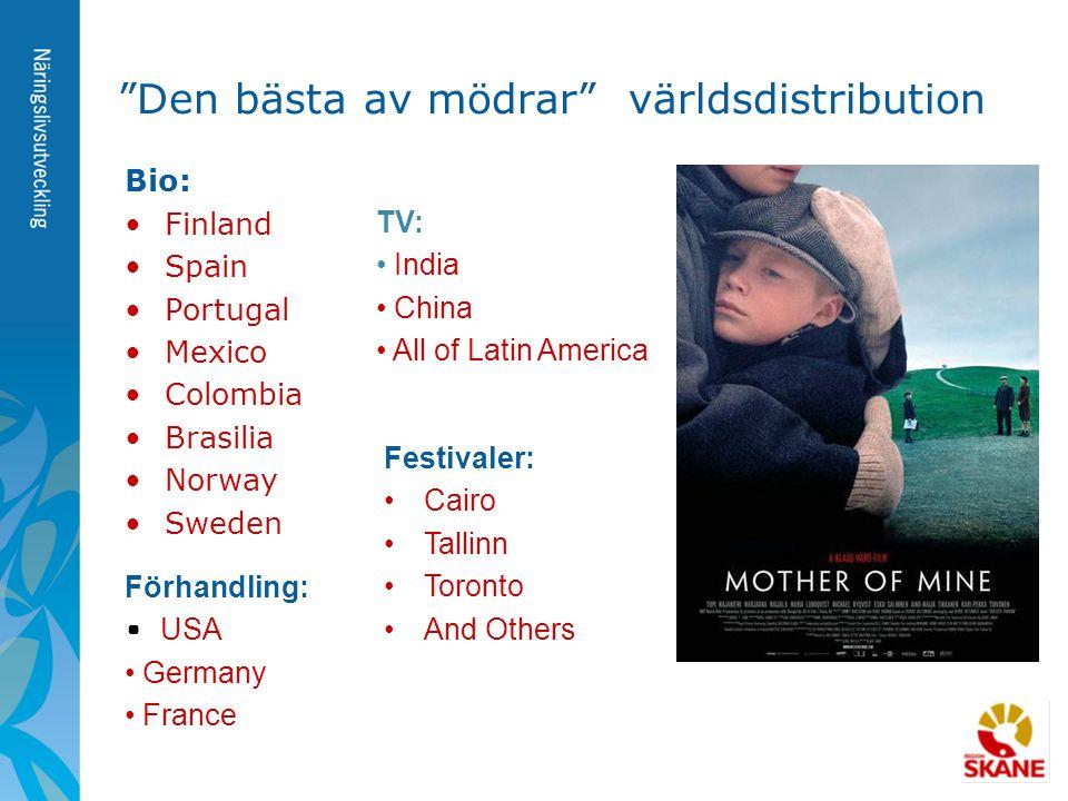 """""""Den bästa av mödrar"""" världsdistribution Bio: •Finland •Spain •Portugal •Mexico •Colombia •Brasilia •Norway •Sweden TV: • India • China • All of Latin"""