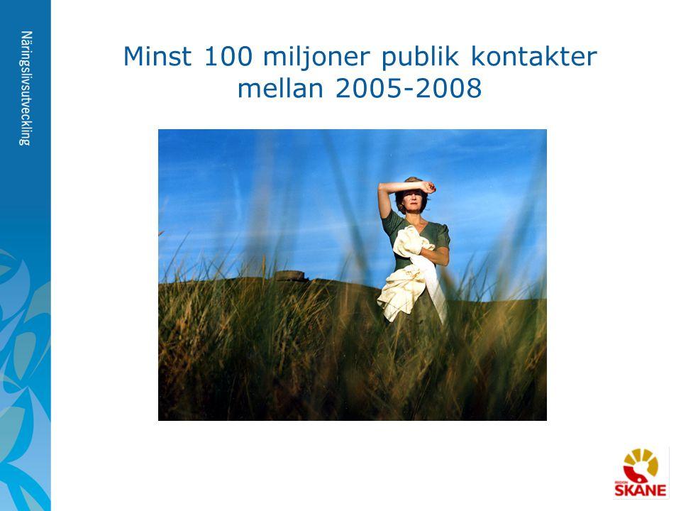 Minst 100 miljoner publik kontakter mellan 2005-2008