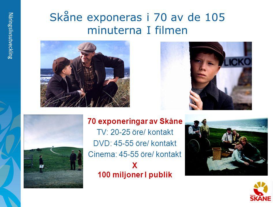 Skåne exponeras i 70 av de 105 minuterna I filmen 70 exponeringar av Skåne TV: 20-25 öre/ kontakt DVD: 45-55 öre/ kontakt Cinema: 45-55 öre/ kontakt X
