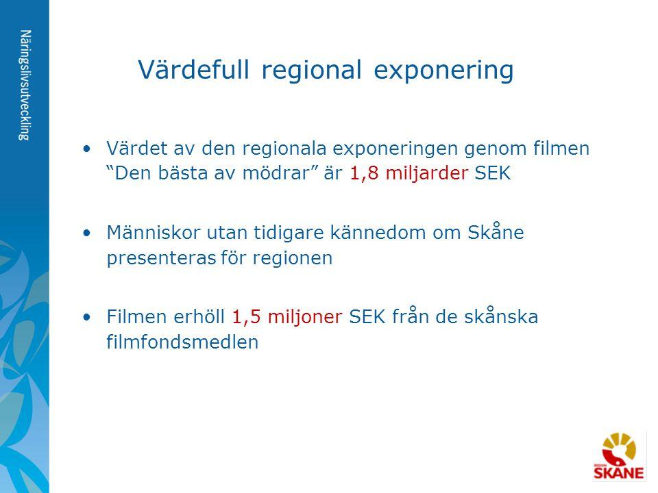 """Värdefull regional exponering •Värdet av den regionala exponeringen genom filmen """"Den bästa av mödrar"""" är 1,8 miljarder SEK •Människor utan tidigare k"""